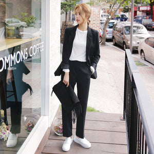 Office Female Suits Autumn Women Pencil Pant Suits 2 Two Piece Sets Black Solid Blazer + Pencil Pant Office Lady Notched Jacket Female Outfits