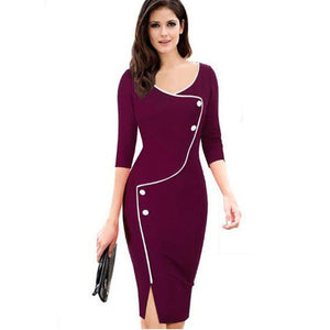 Office Style Dress Vintage Solid Color Elegant Work vestidos Button Pencil dresses Business Women Straight  Dress G26