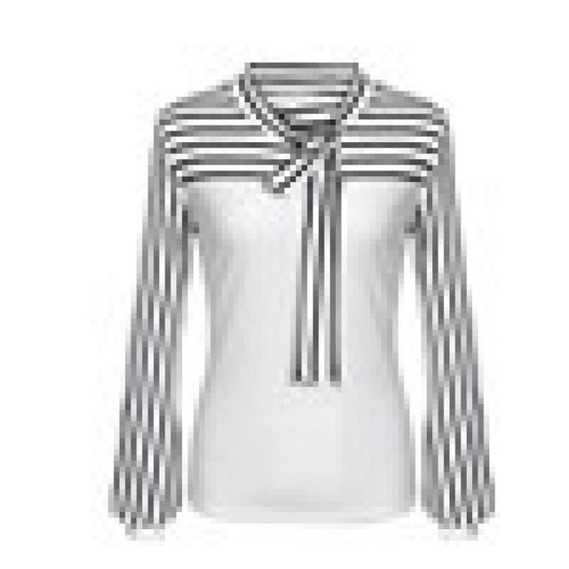 Blouse Women Blouses Women's Tie-Bow Neck Striped Long Sleeve Splicing Shirt Blouse