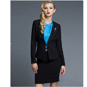 Office Female Suit High Quality Women Skirt Suits Slim Long-Sleeve Solid Formal OL Business Work Skirt Suits Female Office Uniform 2 Piece Suits
