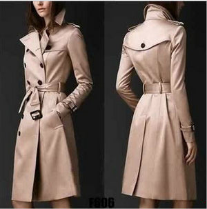 Trench Coat British Style Trench Coat For Women New Women's Coats Autumn Double Button Over Coat Long Plus Size XXL