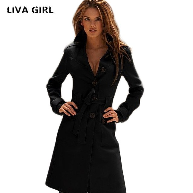 Trench Coat New Fashion Long Trench Coat For Women Spring Autumn Women's Wool Blend Overcoat Female Single Breasted Trenchcoat Femme