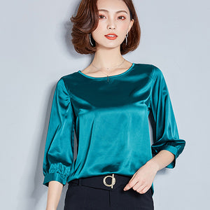 Blouse New Silk Blouse Women Tops Fashion Elegant O-neck Three Quarter Sleeve Solid Shirt Women Blouses Casual Blusas Femininas