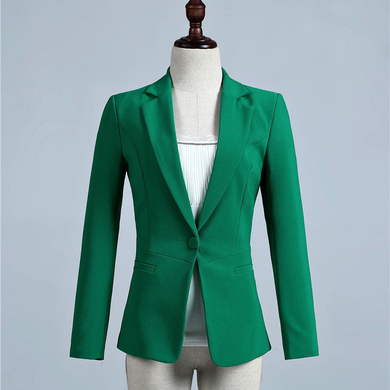 Blazer Spring Fall Green Slim Formal Blazer Women Outerwear Jackets Office Uniform Designs Female Blaser OL Styles Tops