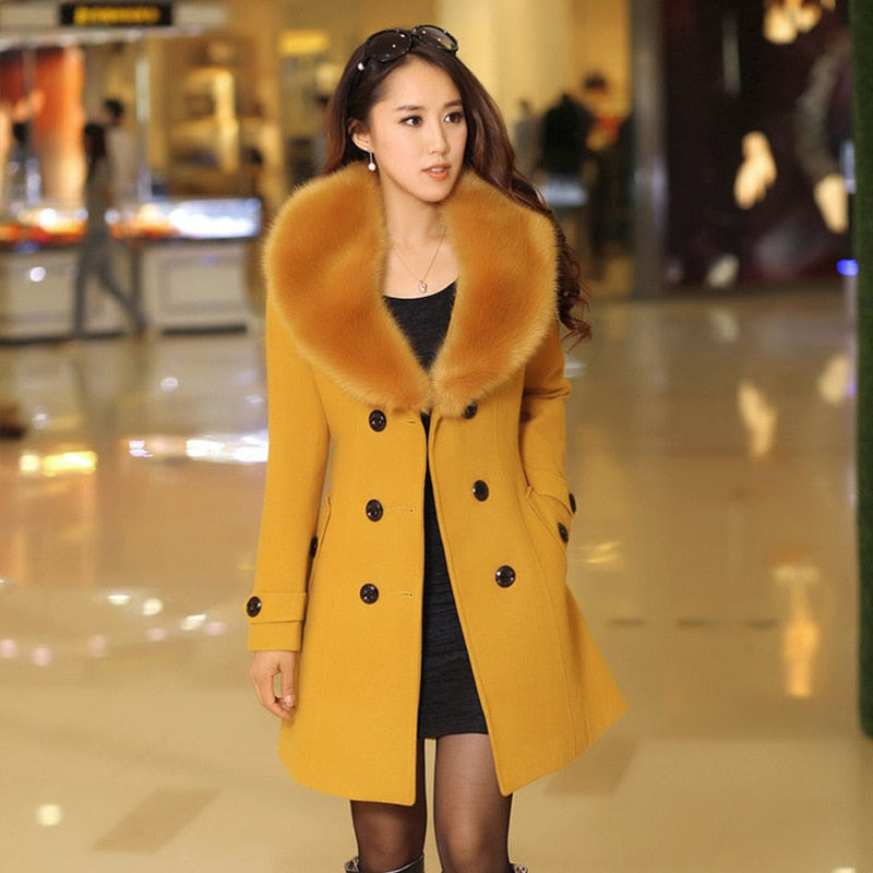 Parka Plus Size New Winter Womens Double Breasted Big Fur Collar Wool Coat Long Winter Jacket Parka Coat Outerwear High Quality