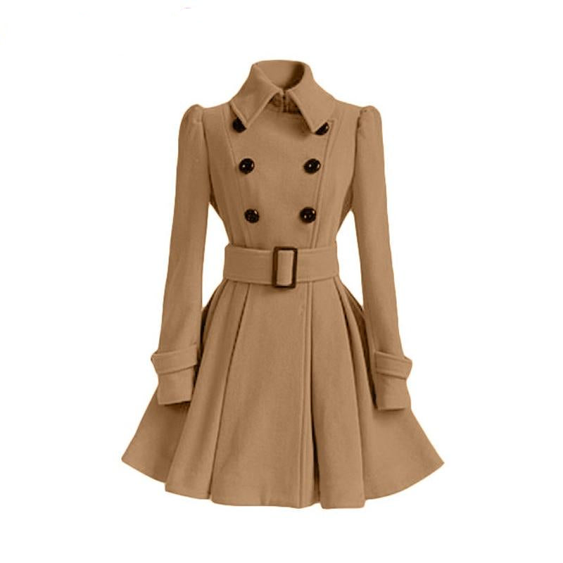 Trenchcoat Autumn Winter Vintage Woman Wool Coat Classic Long Trench Coat With Belt Office Lady Business Outwear