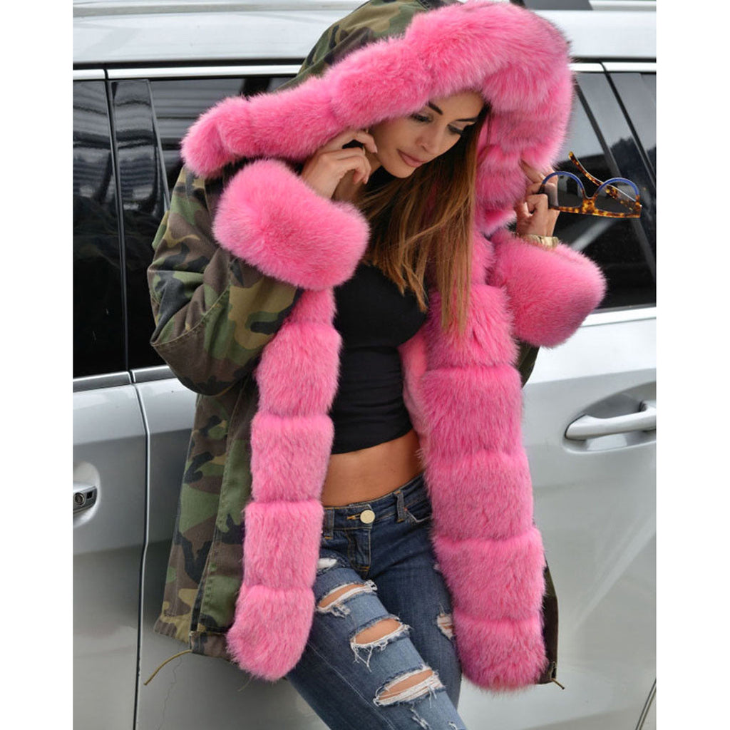 Parka Hot Oversize M-5XL Women Fur Collar Winter Parkas new parkas Hooded Long Coat Outwear Female Faux Fur Warm Jacket Topcoat