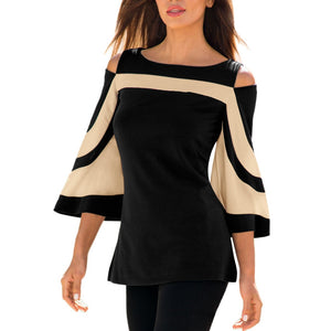 Blouse Women Blouses Long Sleeve Cold Shoulder Tops Striped Shirt Tunic Pullover Streetwear Blusas Mujer C2835