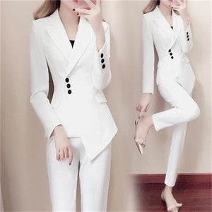 Office Female Suit Fashion Suit Female Spring New Women's Fashion Slim White Small Suit Suit Temperament Summer Fashion Two-Piece