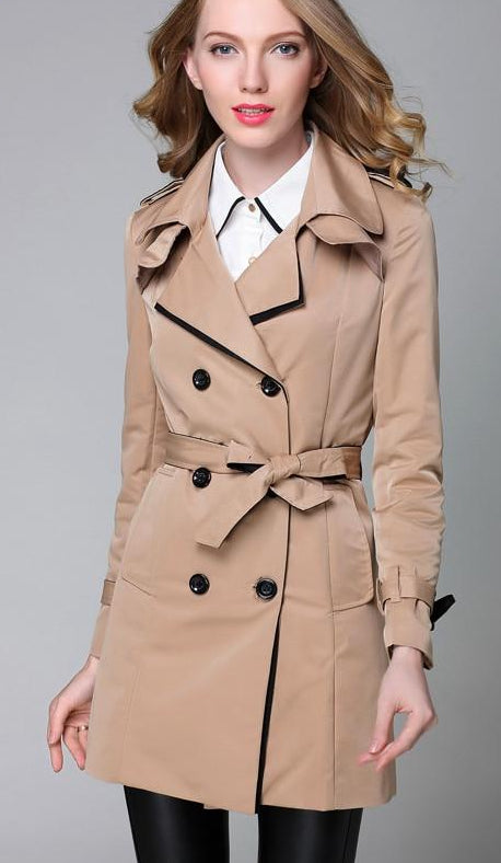 Trench Coat Women Classic Double Breasted Trench 2019 New Color Block Spring Autumn Ladies Elegant Long Coats Outwear