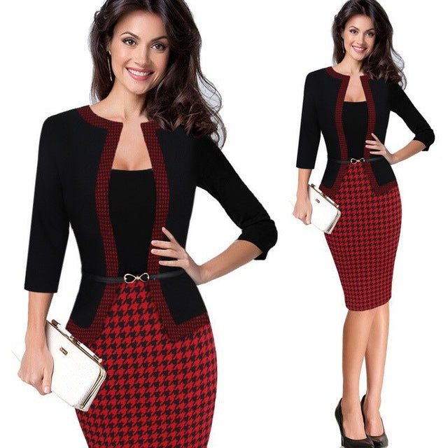 Office Style Dress Female Women Winter Elegant Retro Faux Jacket Polka Dot Contrast Belt Dress Suit Work Office Business Party Sheath Dress Suit