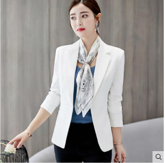 Blazer 2019 Blazer Femme Jacket Women Blazer Pink Long Sleeve Blazer Solid One Button Coat Slim Office Lady Jacket Female Top