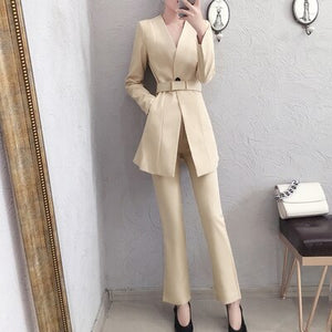 Office Female Suit Women Pant Suits Female Spring and Autumn New High End female British style Blazer Top + Wide Leg Pants Two-piece Suit Women