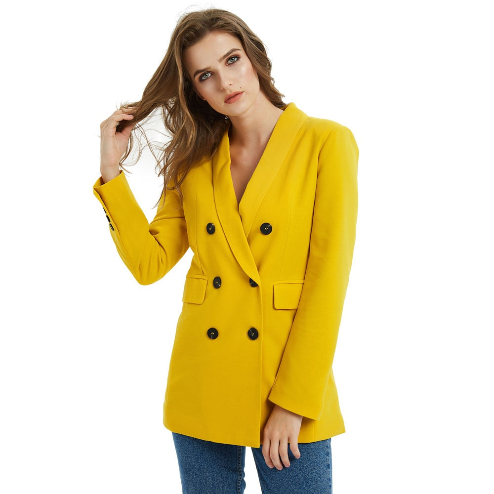 Office Female Suit Pink Yellow Color Suit Blazer Jacket Women Fashion Long Sleeve Coat Women Elegant Double Breasted Jacket Suits Female Ladies