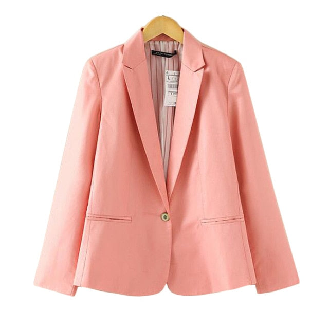 Blazer Slim Blazers Women Spring Autumn Suit Jacket Female Work Office Lady Suit Wear Black Single Button Business Notched Blazer Coat