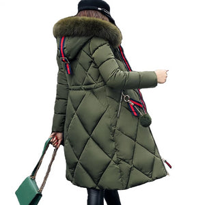 Parka Big fur Winter Coat Thickened Parka Women Stitching Slim Long Winter Coat Down Cotton Ladies Down Parka Down Jacket A862