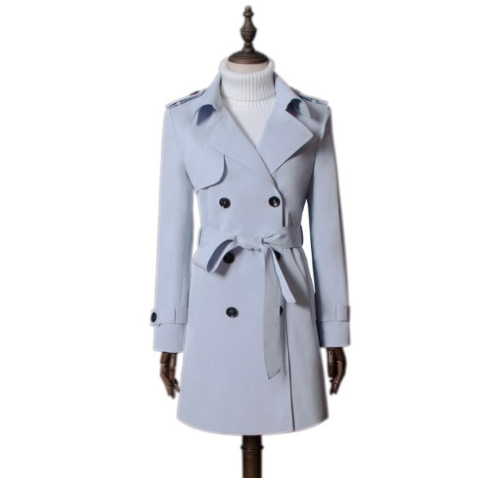 Trench Coat European Spring ladies Trench Coat for Women Long Sleeves Coats Womens Casaco Feminino Slim Overcoat Woman Light Blue Autumn