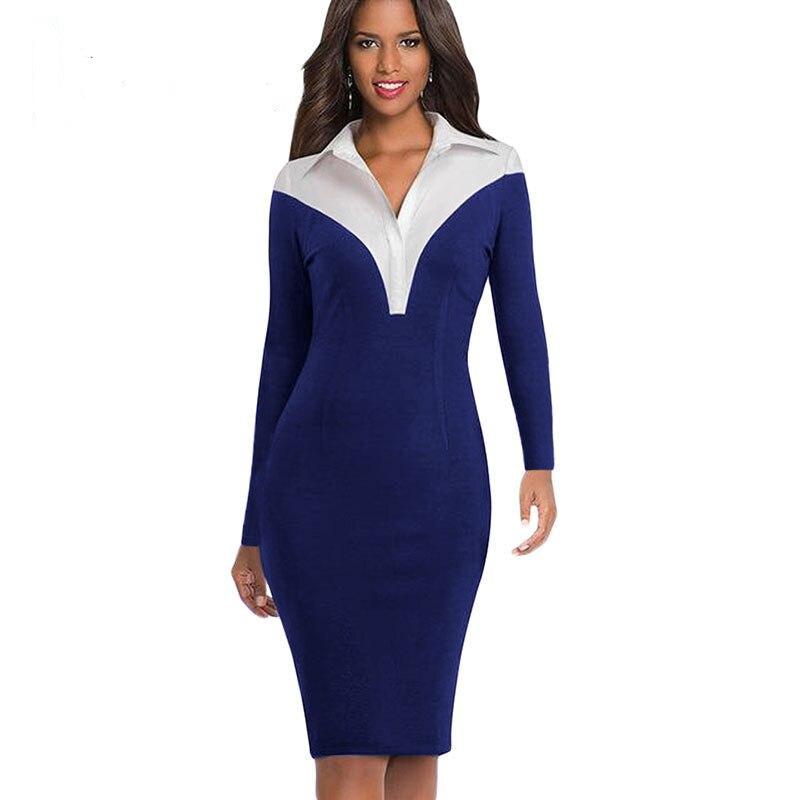 Office Style Dress Women Office Dress Spring Shirt Style Patchwork Long Sleeve Turn Down Collar Midi Dresses Black Blue Formal Work Dress