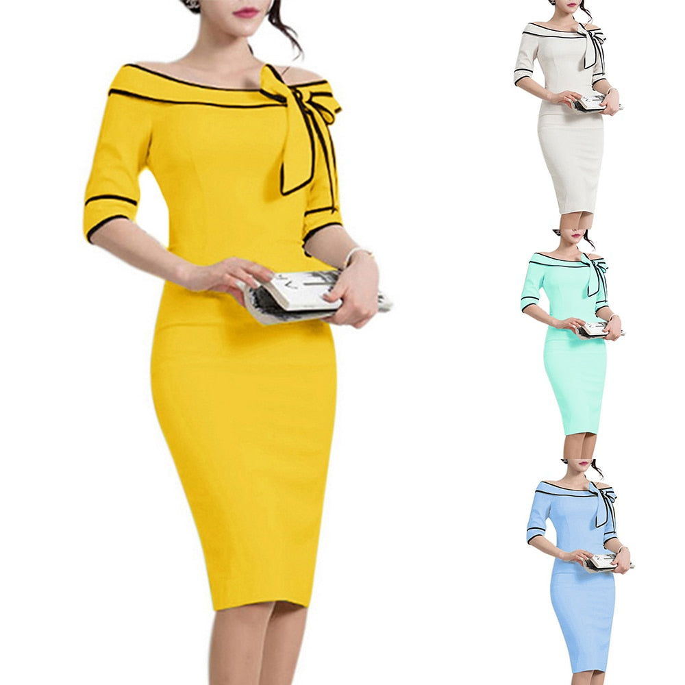 Office Style Dress Elegant Style Bowknots Off Shoulder Half Sleeves Women Dress 4 Solid Colors Office Pencil Dress Zip Back Split Vestidos