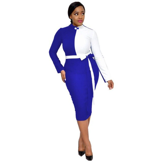 Office Style Dress Long-sleeved OL Dress African Women Office Lady Spot Fashion Stitching Strap Zipper Dress Temperament High Quality Safari Style