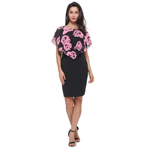Office Style Dress Chiffon Summer Women Floral Print Dress Elegant Style Office Sheath Dress Feminino Vestidos Capelet Vintage Style Dress