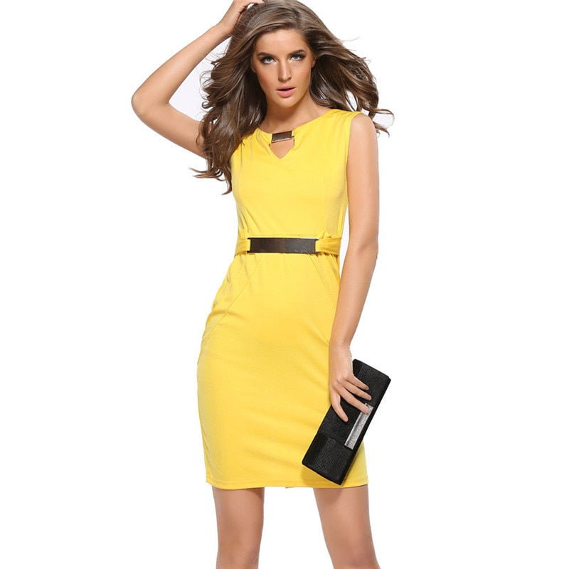 Office Style Dress 2019 Summer Sleeveless O-Neck Office Work Women Dresses Casual Black Blue Yellow Straight Dress Female Package Hips Mini Dress