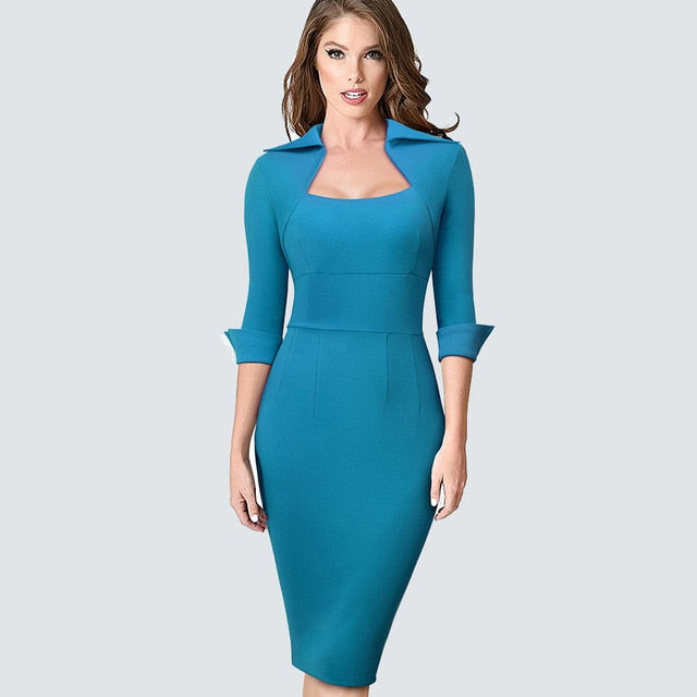 Office Style Dresses Autumn Professional Women Formal Sheath Bodycon Slim Elegant Work Business Office Lady Dress HB471