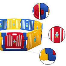 10-Panel Baby Playpen Lightweight Play Fence wLocked Gate Suction Cup Safety Kids Playyard for Home Use