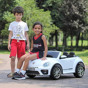 12V Beetle Kids Ride on Car Battery Powered Children s Toy Vehicle w2.4G Remote Control and LED Lights