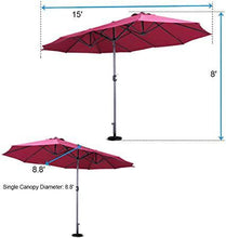 15FT Extra Large Patio Umbrella Double-Sided Outdoor Market Umbrella with Crank Burgundy