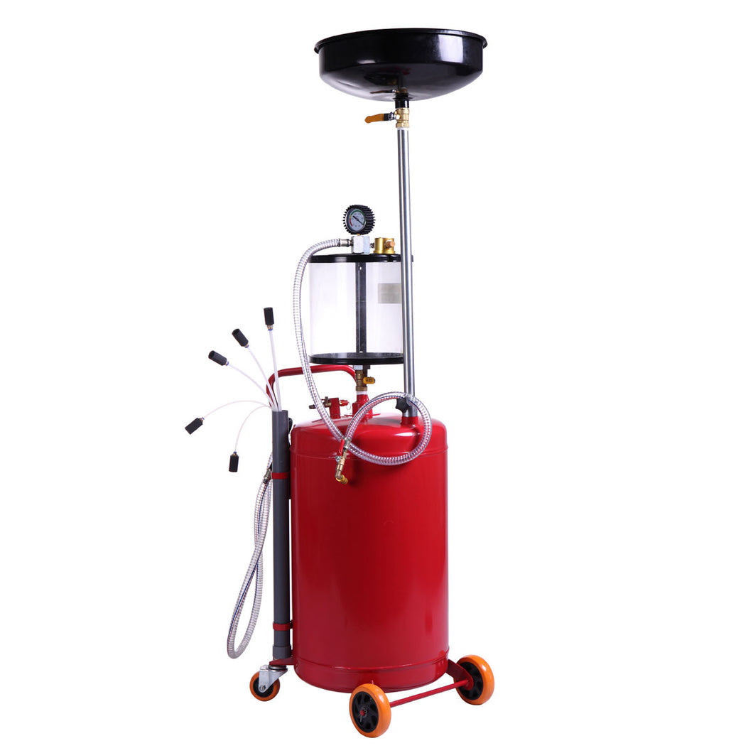 New 20 Gallon Heavy Duty Portable Waste Oil Drain Tank Air Operated Oil Filter Home Use