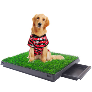 Indoor Puppy Dog Pet Potty W/Tray Training Pee Pad Mat Tray Grass House Toilet