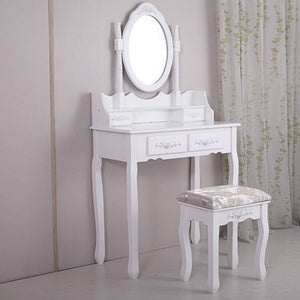 White Vanity Set Makeup Dressing Table Stool and Oval Mirror 4 Drawers