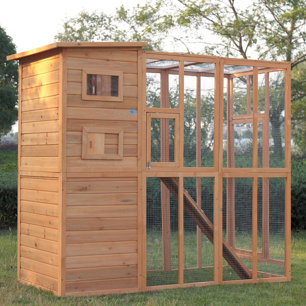 Cat House Cage For Outdoor Cats Enclosure Run Shelter Wooden Pet Housing