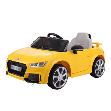 New Yellow Audi TT 12V Kids Ride On Car Electric Powered Wheels Toy Lights R/C