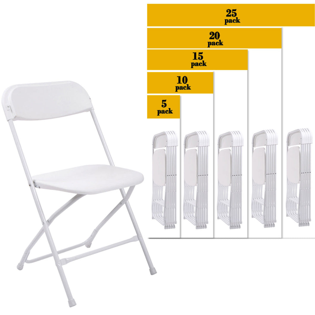 5 PACK Commercial Wedding Quality Stackable Plastic Folding Chairs White