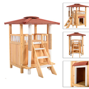 Indoor Cat House Outdoor Shelter Roof Cat Condo Wood Steps Balcony Puppy Stairs