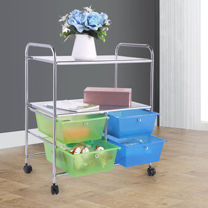 Rolling Storage Cart w/ 4 Drawers 2 Shelves Metal Rack Shelf Home Office School Salon Utility Organizer Cart