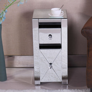 Mirrored 2 Drawer Side Table End Table Nightstand Bedroom Furniture
