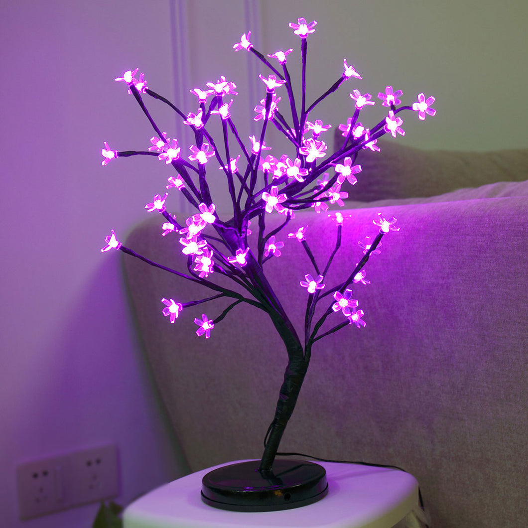 20Inch 64LEDs Cherry Blossom Desk Top Bonsai Tree Light Perfect for Home Festival Party Wedding Christmas Indoor Outdoor Pink