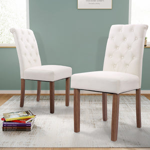 Solid Wood High Back Button-Tufted Upholstered Fabric Dining Chairs, Set of 2 Beige/Gray