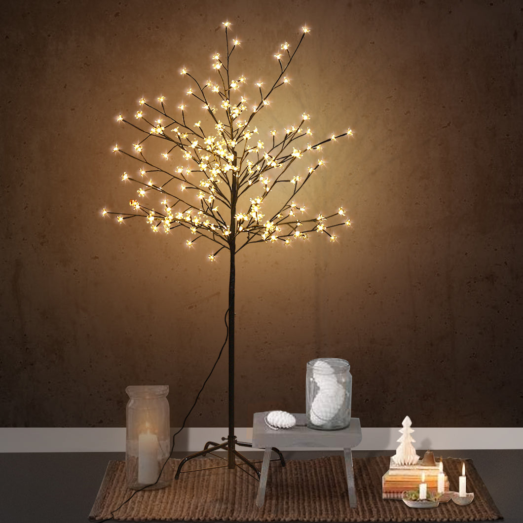 5FT 196LED Christmas Xmas Green Cherry Blossom Light Tree Floor Lamp Holiday Decor Warm White