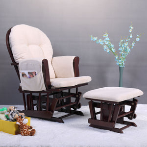 Bow back chair Espresso & Beige Rocking glider Ottoman chair set Baby & Mother Nursery Chair with Soft Cushion