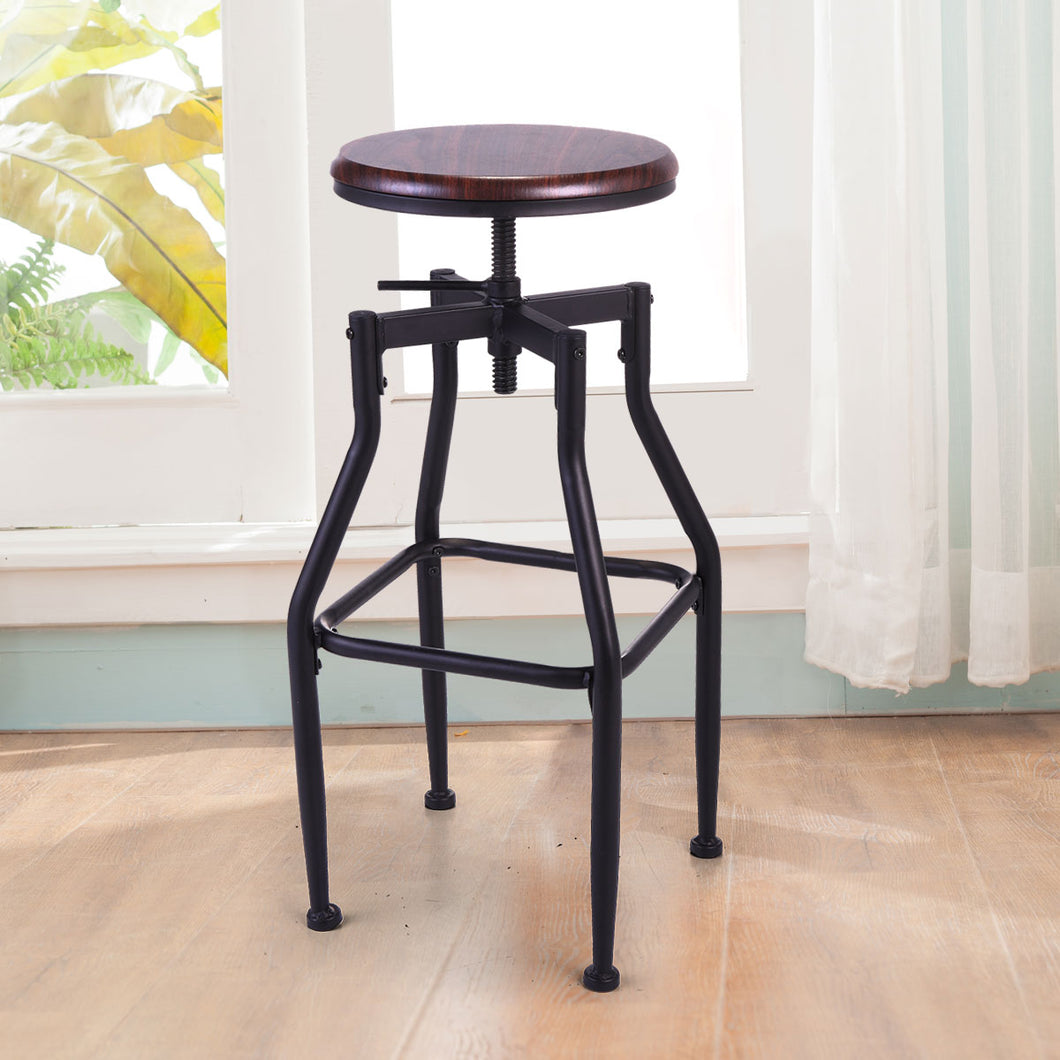 New Vintage Bar Stool Metal Design Wood Top Height Adjustable Swivel Industrial