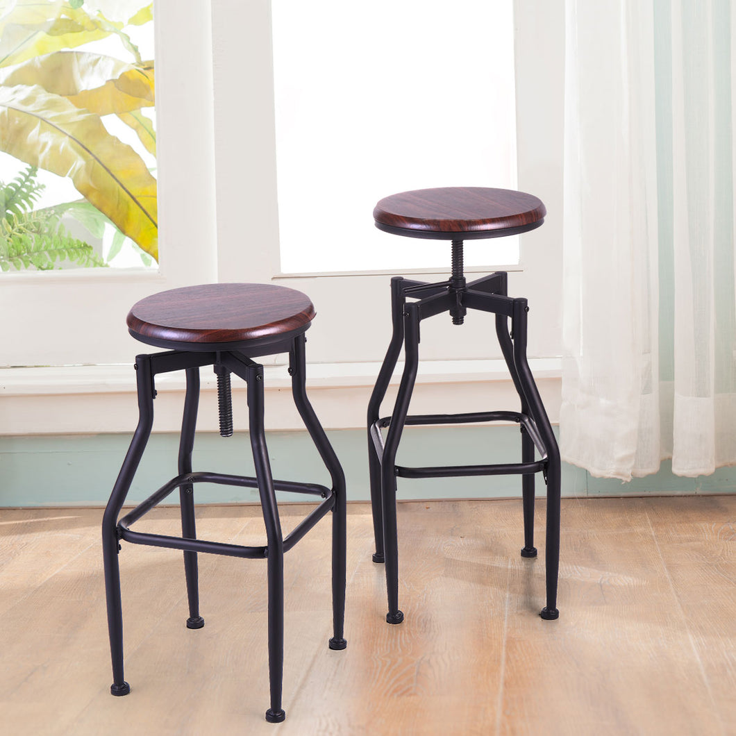 Set of 2  New Vintage Bar Stool Metal Design Wood Top Height Adjustable Swivel Industrial
