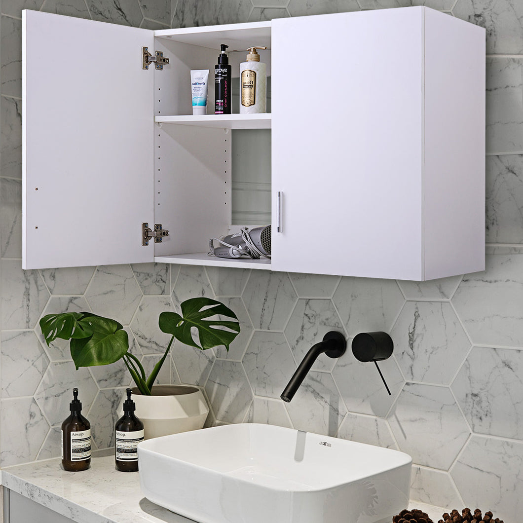 Home Kitchen/Bathroom/Laundry 2 Door 1 Wall Mount Cabinet Organizer White, 32