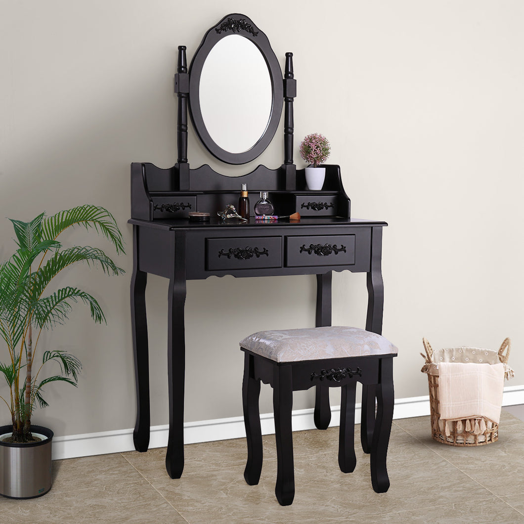 Bedroom Vanity Makeup Table Set Dressing Jewelry Desk 4 Drawer w/Oval Mirror