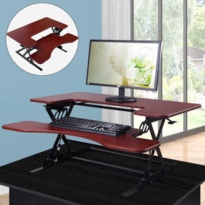 Ergonomic Height Adjustable Standing Desk Sit Stand Desk Top Desk Riser Brown