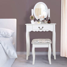 Vanity Wood Makeup Dressing Table Stool & Mirror Set