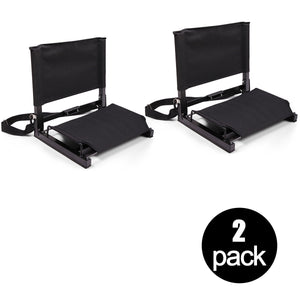 2 PACK Folding Stadium Chairs Portable Bleachers Seat w/ Back Removable Cushion